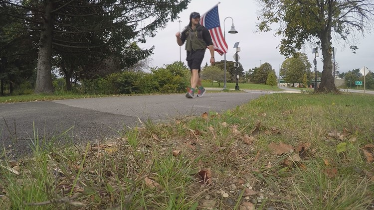 Blake Toth carries US Flag