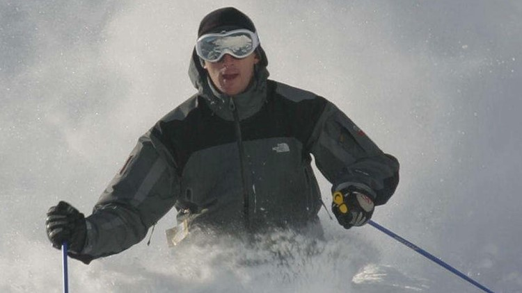 Mike Chasse downhill skiing.