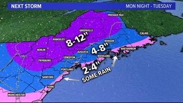 Slick start to Sunday, big snow for some starts Monday night