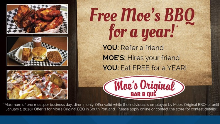 Free food in exchange for a good job referral at Moe's Original Bar-B-Que