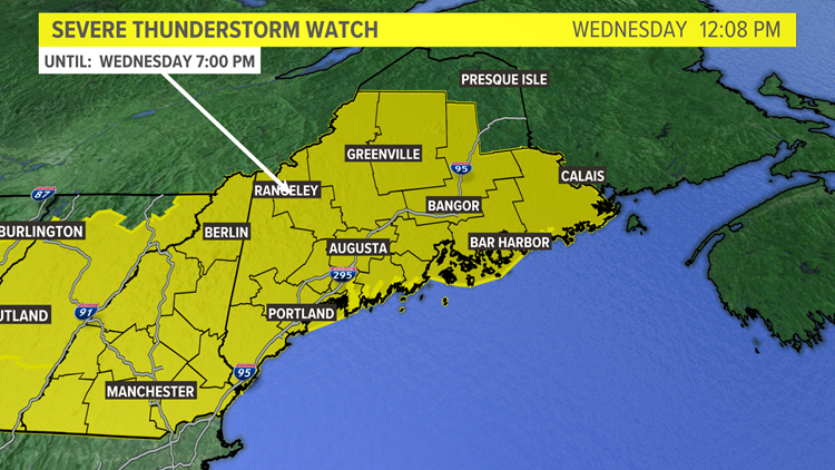 Severe thunderstorm watch issued for parts of Maine, New Hampshire