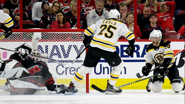 Bruins treat new Hurricanes' goalie just as badly as the old one