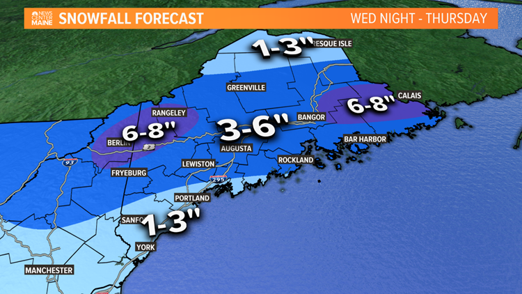 Snowfall forecast Thursday morning