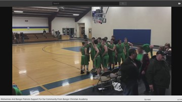 East Millinocket Community supported during prayer at H.S. Basketball game