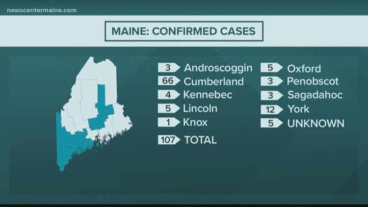 Maine: Confirmed cases of coronavirus, COVID-19 as of March 23, 2020