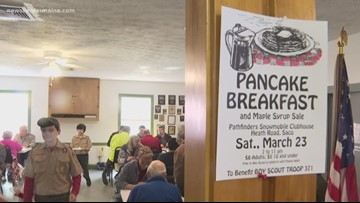 Boy Scouts serve pancake breakfast for Maine maple Sunday