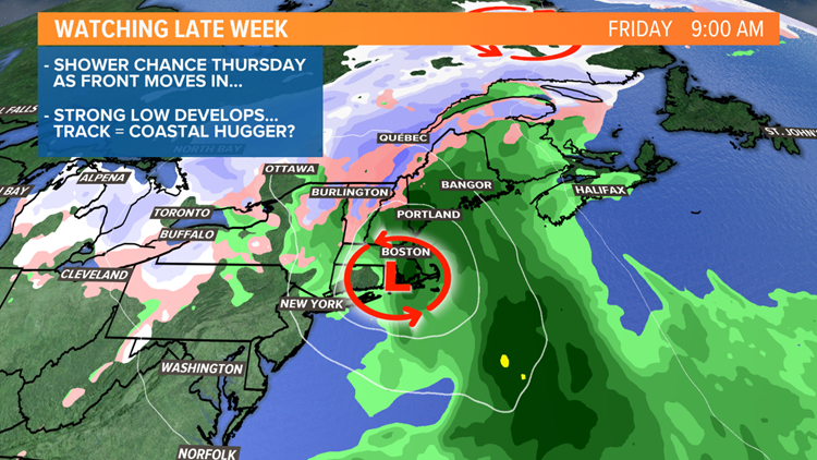 Nor'easter forms Thursday night.