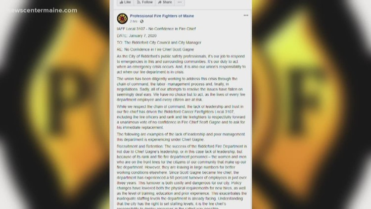 Biddeford firefighters union gives 'no confidence' vote in chief