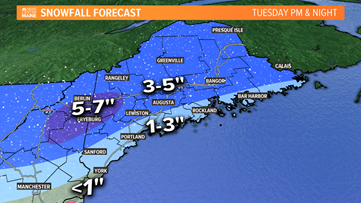 Several inches possible Tuesday