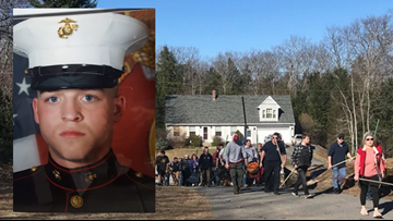 Dozens of Maine firefighters answer the call, provide service for family of slain Marine