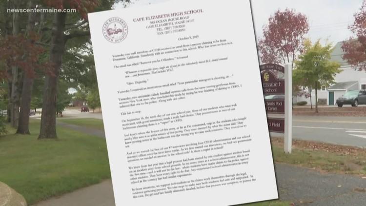 Cape Elizabeth principal issues letter regarding sexual assaults in school