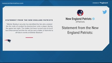 Fan banned by Patriots after spilling beer on player