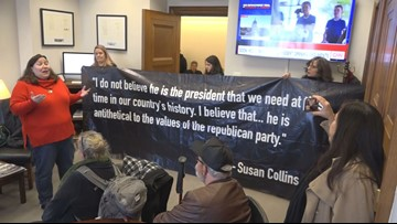 Maine activists in D.C. protesting Sen. Collins, claim she isn't listening