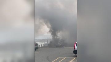 Boat fire on Portland Fish Pier