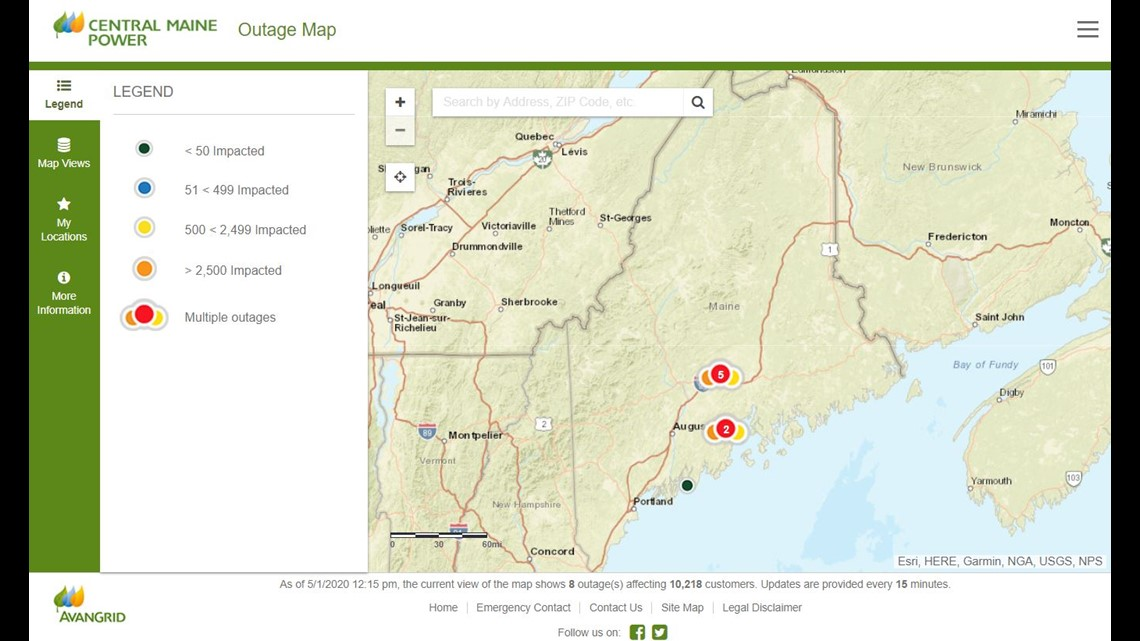 Cmp Power Outage Map Central Maine Power reports 10,000 outages in Maine