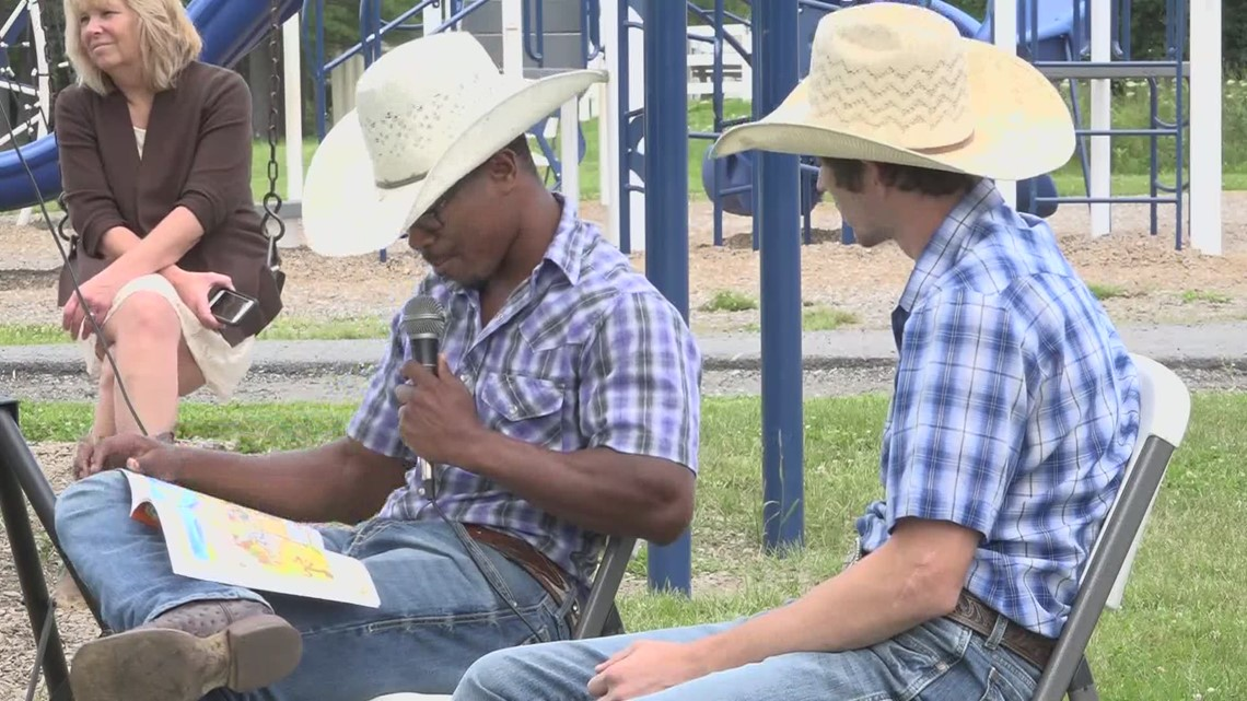 Bull riders in Bangor for PBR event read to local kids in summer rec program