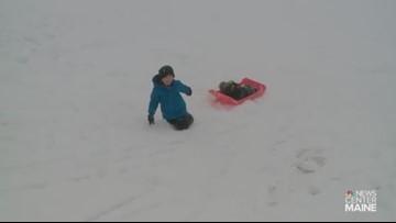 7-year-old Jesse Carroll enjoys Maine snow day
