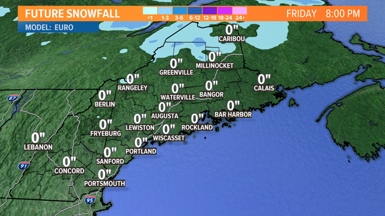 Snow forecast for Friday morning