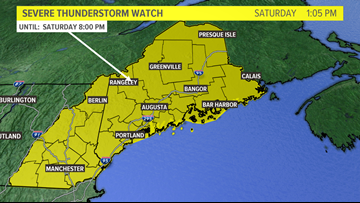 Severe Thunderstorm Watch issued until 8 p.m. Saturday