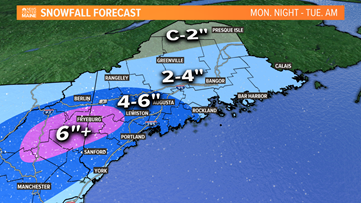 """Spring snowstorm Monday night; over 6"""" expected in spots"""