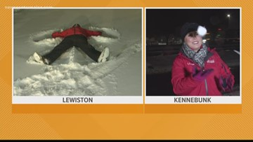 Making the best of this 1st storm, from Lewiston to Kennebunk