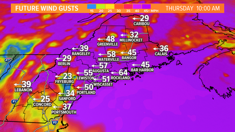 Modeled wind gusts
