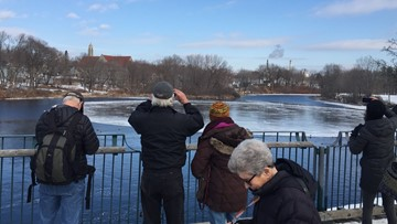 A gigantic, spinning circle of ice in Westbrook attracts global attention