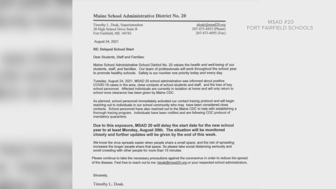 MSAD-20 officials in Fort Fairfield delays start of school year due to COVID cases