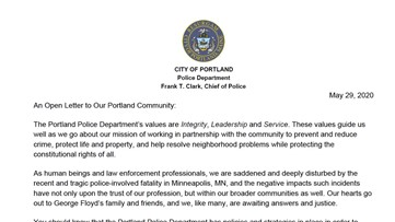 Portland Police Department writes open letter to community in response to police-involved death in Minneapolis