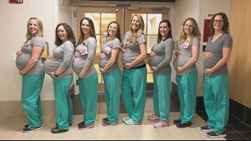 Stork sets up shop at Maine Hospital with nine pregnant nurses