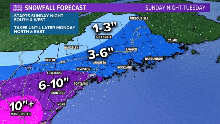 Forecast snow totals through Tuesday