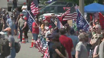 Supporters and protestors gather in Guilford for President Trump's trip to Maine