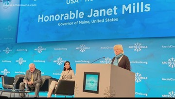 Mills speaks before Arctic Circle Assembly in Iceland