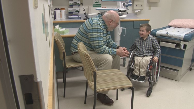 Kellan Tilton visits Maine Children's Cancer Program.
