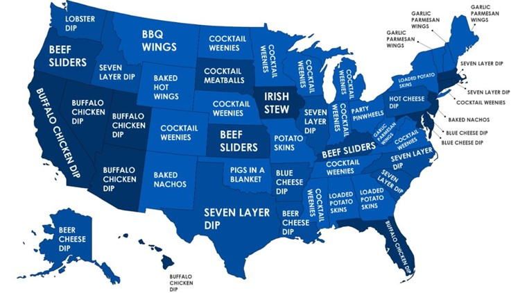 Super Bowl food by state