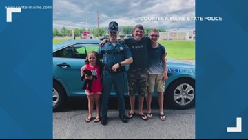 Maine State Police help stranded woman, kids