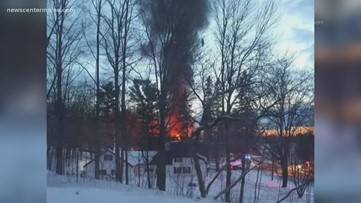 Multiple towns respond to a house fire in Dexter