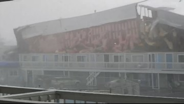 Tornado winds rip off roof at Massachusetts hotel