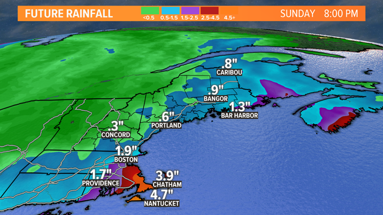 Estimated rain over the weekend.