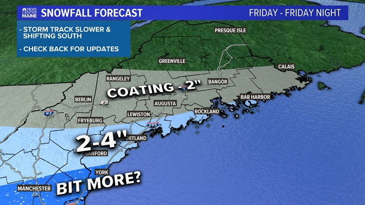 Light snow in Maine on Friday, storm trends south
