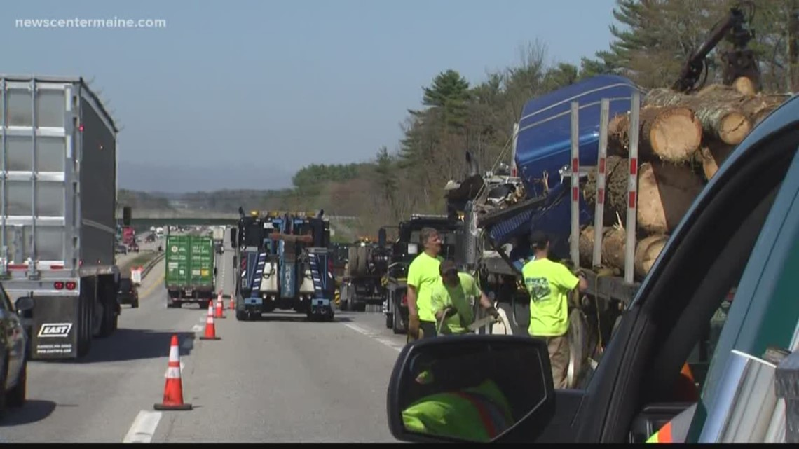 Logging truck accident on Maine Turnpike