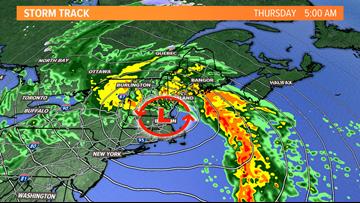 Autumn storm blasts Maine with wind and rain