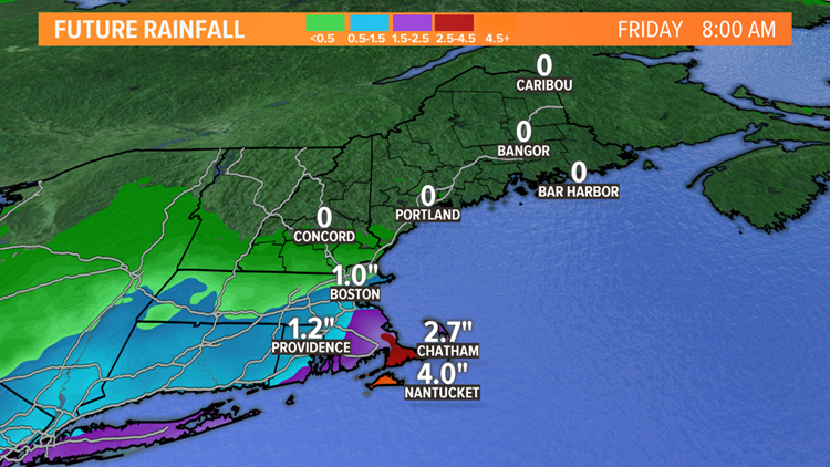 Estimated rainfall through Friday morning