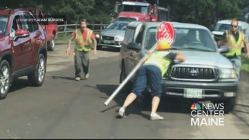 CAUGHT ON VIDEO: Flagger nearly run over by motorist in Kennebunk
