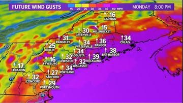Warm, wet, windy start to the week in Maine