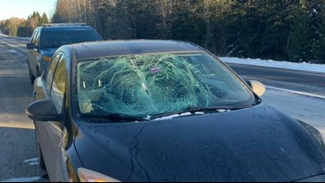 Ice smashes drivers windshield on I-95 in Houlton