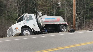 Woman seriously hurt in SUV, septic truck Windham crash