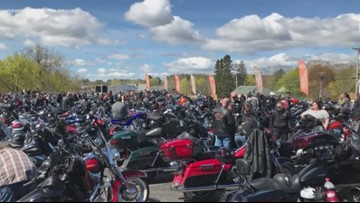 Hundreds of motorcycles prepare for the first annual Dempsey Center motorcycle ride
