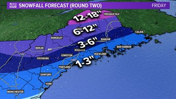 Snow and ice, Thursday and Friday, will make a mess of much of Maine