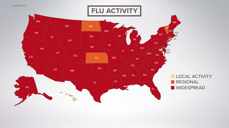 Flu widespread map